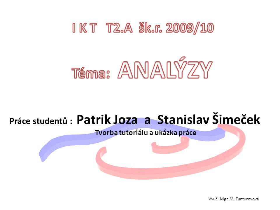 Téma: ANALÝZY I K T T2.A šk.r. 2009/10