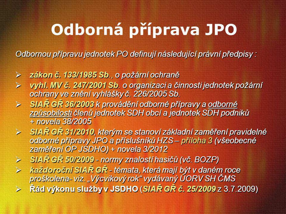Odborná příprava JPO Odbornou přípravu jednotek PO definují následující právní předpisy : zákon č. 133/1985 Sb., o požární ochraně.