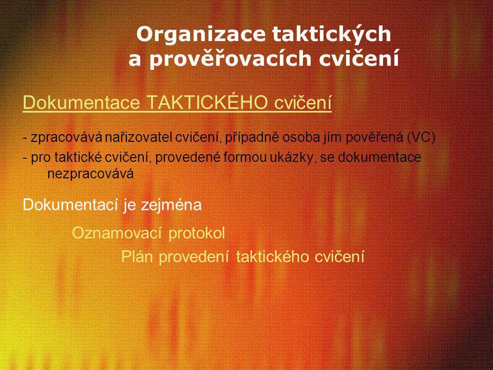 Organizace taktických a prověřovacích cvičení