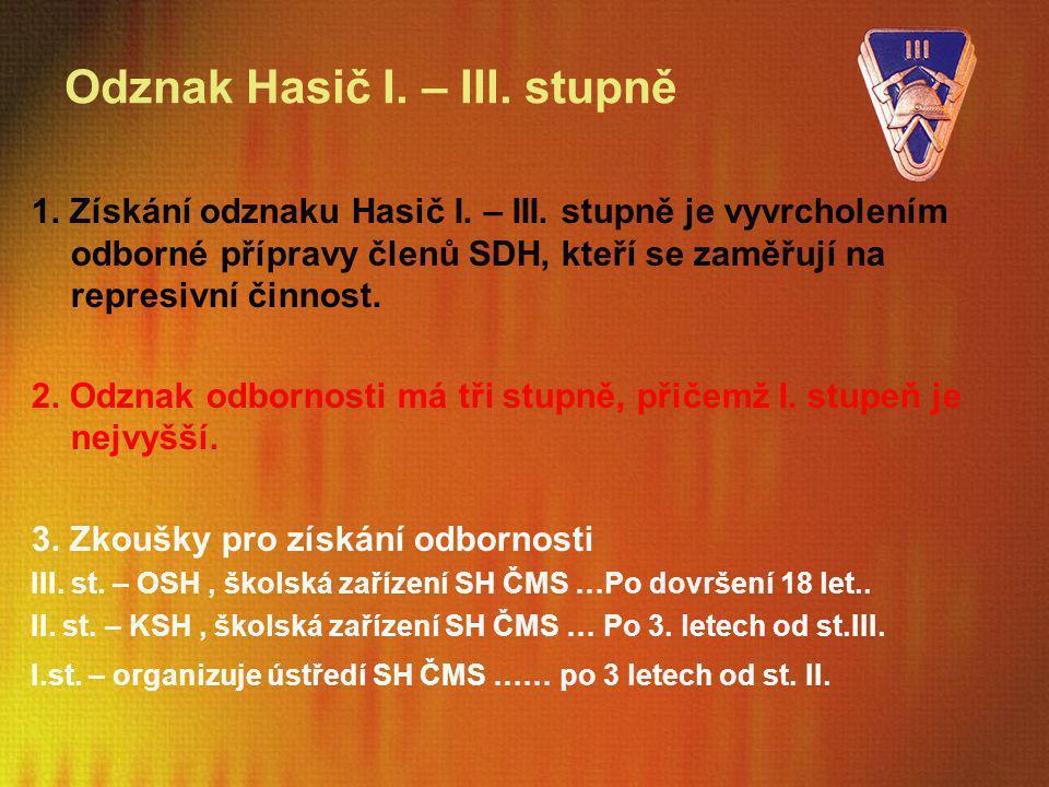 Odznak Hasič I. – III. stupně