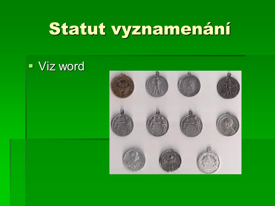 Statut vyznamenání Viz word
