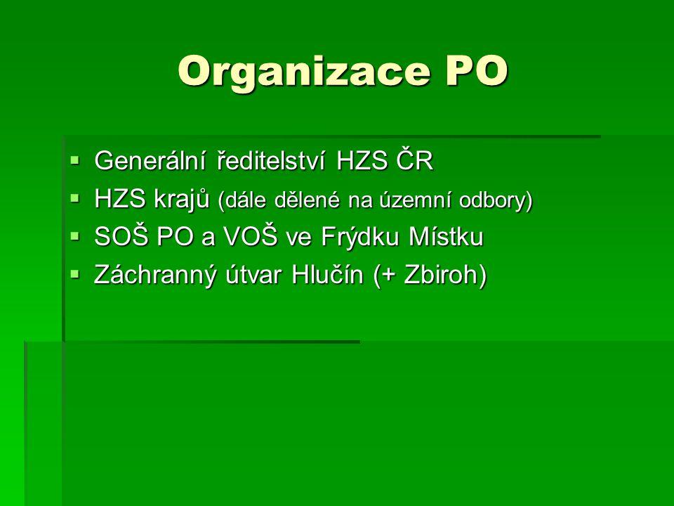 Organizace PO Generální ředitelství HZS ČR