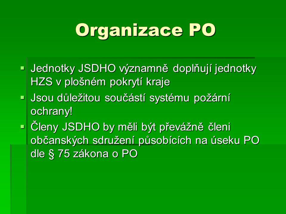 Organizace PO Jednotky JSDHO významně doplňují jednotky HZS v plošném pokrytí kraje. Jsou důležitou součástí systému požární ochrany!