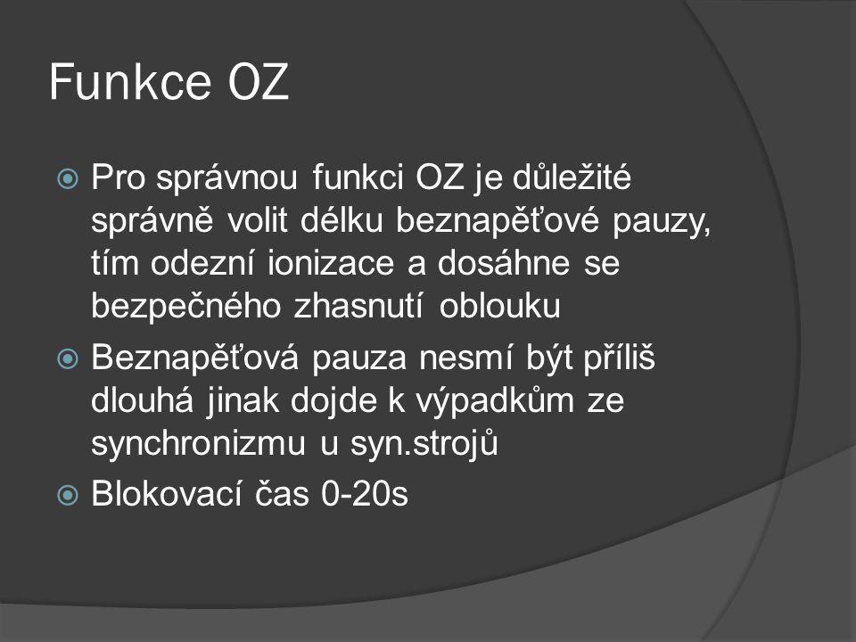 Funkce OZ Pro správnou funkci OZ je důležité správně volit délku beznapěťové pauzy, tím odezní ionizace a dosáhne se bezpečného zhasnutí oblouku.