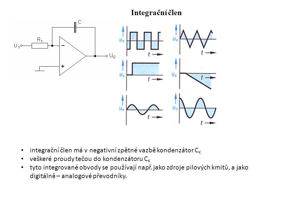 Integrační člen integrační člen má v negativní zpětné vazbě kondenzátor CK. veškeré proudy tečou do kondenzátoru CK.
