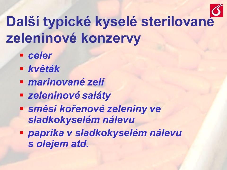 Další typické kyselé sterilované zeleninové konzervy