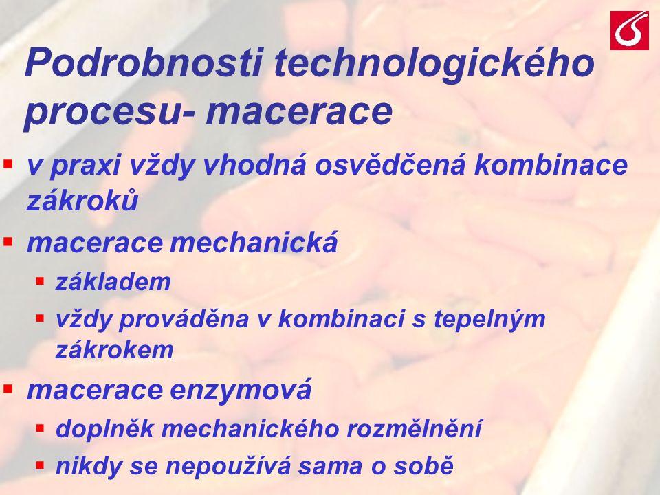 Podrobnosti technologického procesu- macerace