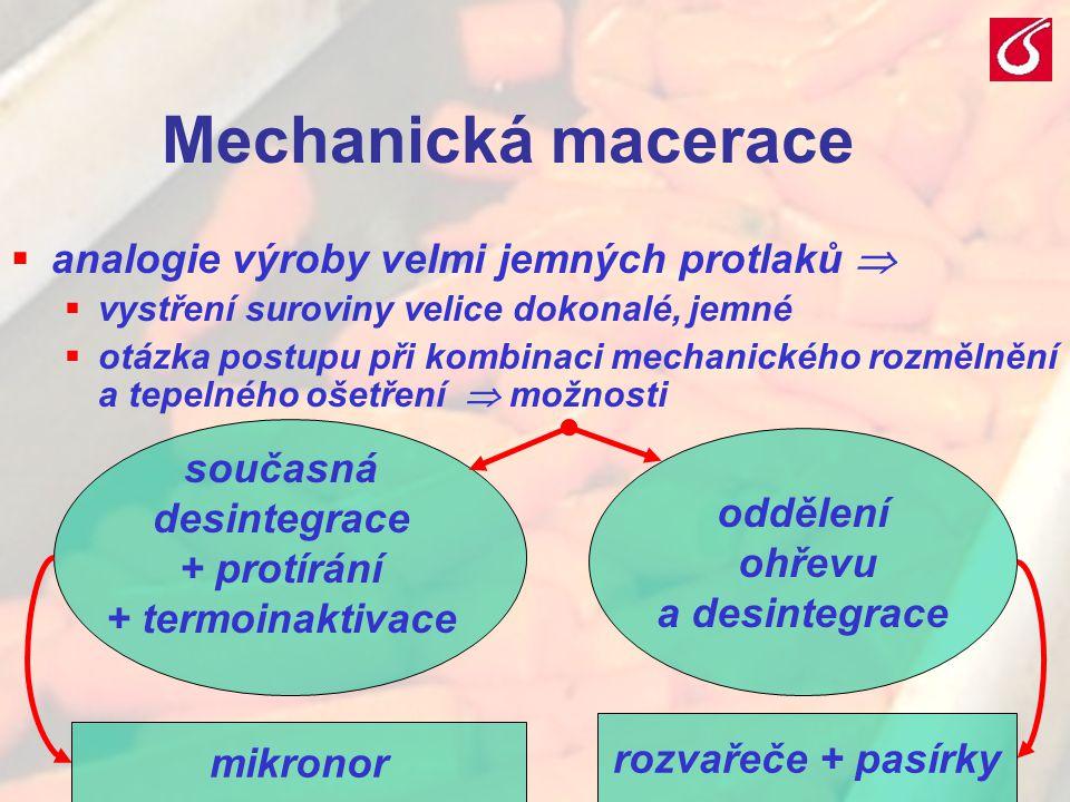 Mechanická macerace analogie výroby velmi jemných protlaků  současná