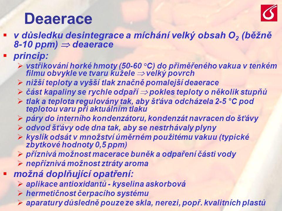 Deaerace v důsledku desintegrace a míchání velký obsah O2 (běžně 8-10 ppm)  deaerace. princip: