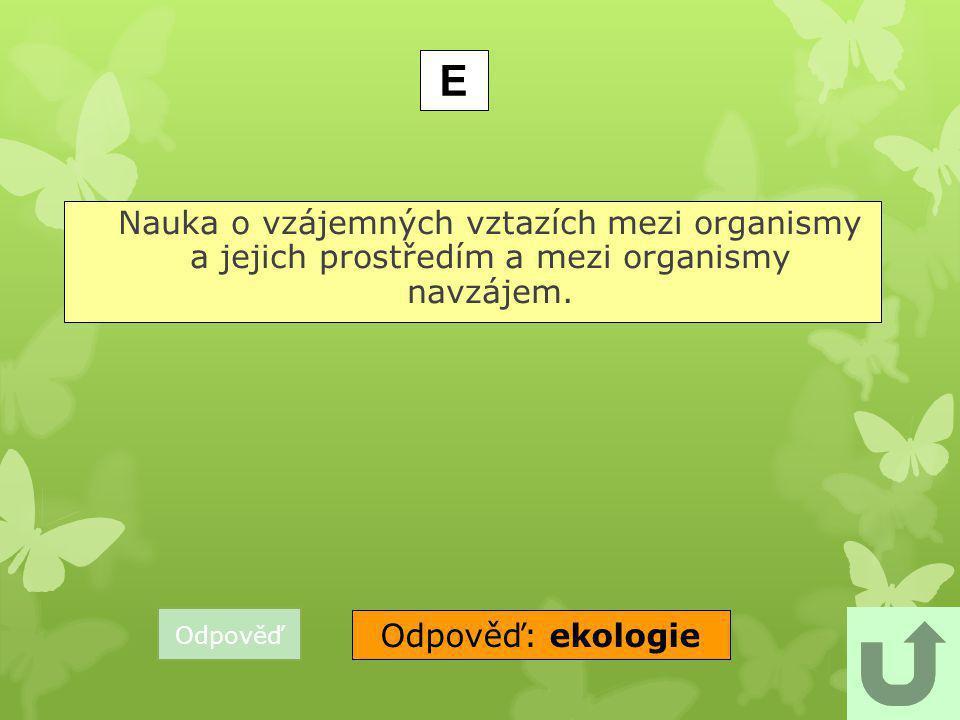 E Nauka o vzájemných vztazích mezi organismy a jejich prostředím a mezi organismy navzájem. Odpověď.