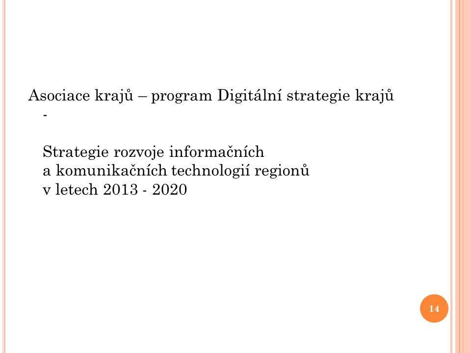 Asociace krajů – program Digitální strategie krajů - Strategie rozvoje informačních a komunikačních technologií regionů v letech 2013 - 2020