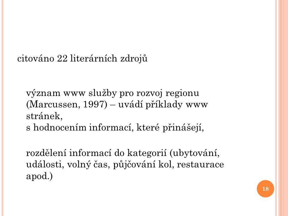 citováno 22 literárních zdrojů význam www služby pro rozvoj regionu (Marcussen, 1997) – uvádí příklady www stránek, s hodnocením informací, které přinášejí, rozdělení informací do kategorií (ubytování, události, volný čas, půjčování kol, restaurace apod.)