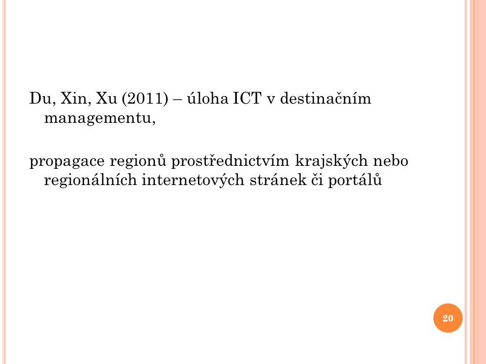 Du, Xin, Xu (2011) – úloha ICT v destinačním managementu, propagace regionů prostřednictvím krajských nebo regionálních internetových stránek či portálů