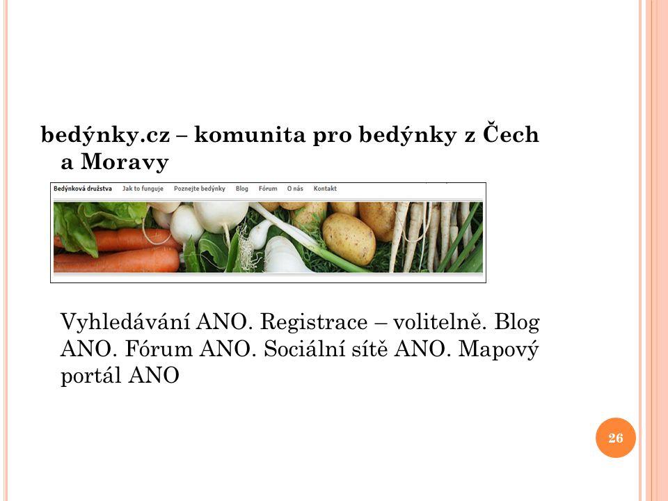 bedýnky. cz – komunita pro bedýnky z Čech a Moravy Vyhledávání ANO