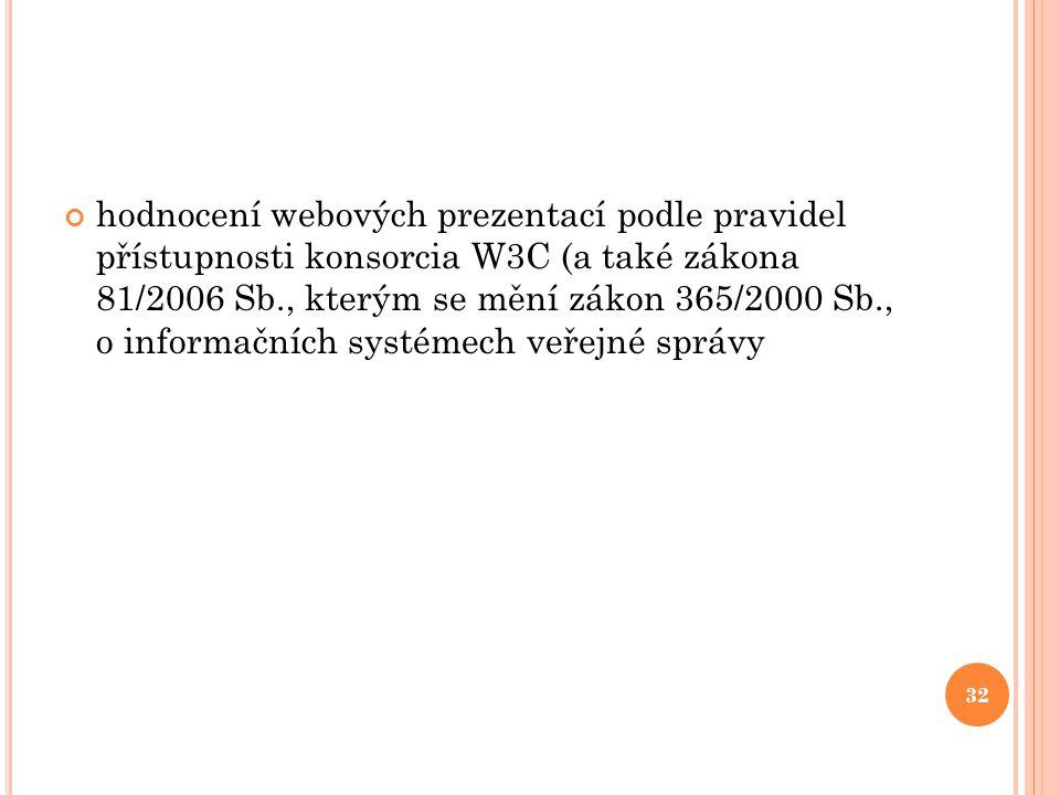 hodnocení webových prezentací podle pravidel přístupnosti konsorcia W3C (a také zákona 81/2006 Sb., kterým se mění zákon 365/2000 Sb., o informačních systémech veřejné správy
