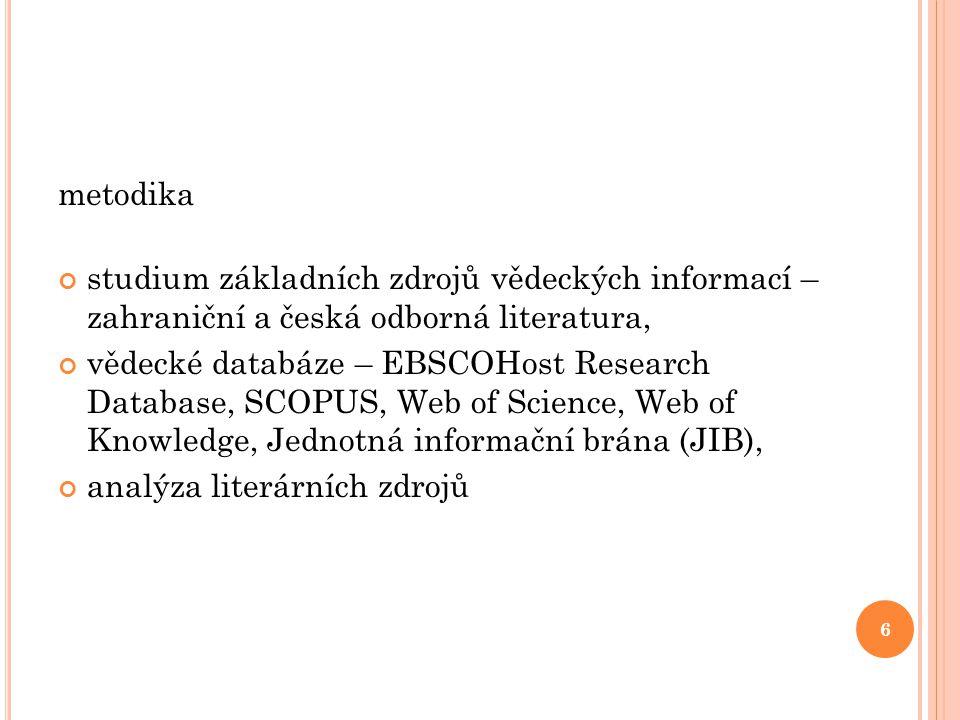 metodika studium základních zdrojů vědeckých informací – zahraniční a česká odborná literatura,