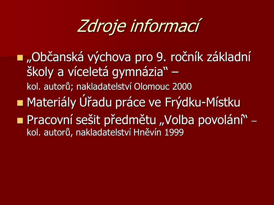 """Zdroje informací """"Občanská výchova pro 9. ročník základní školy a víceletá gymnázia – kol. autorů; nakladatelství Olomouc 2000."""