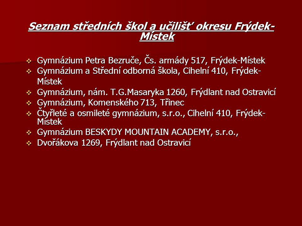 Seznam středních škol a učilišť okresu Frýdek-Místek