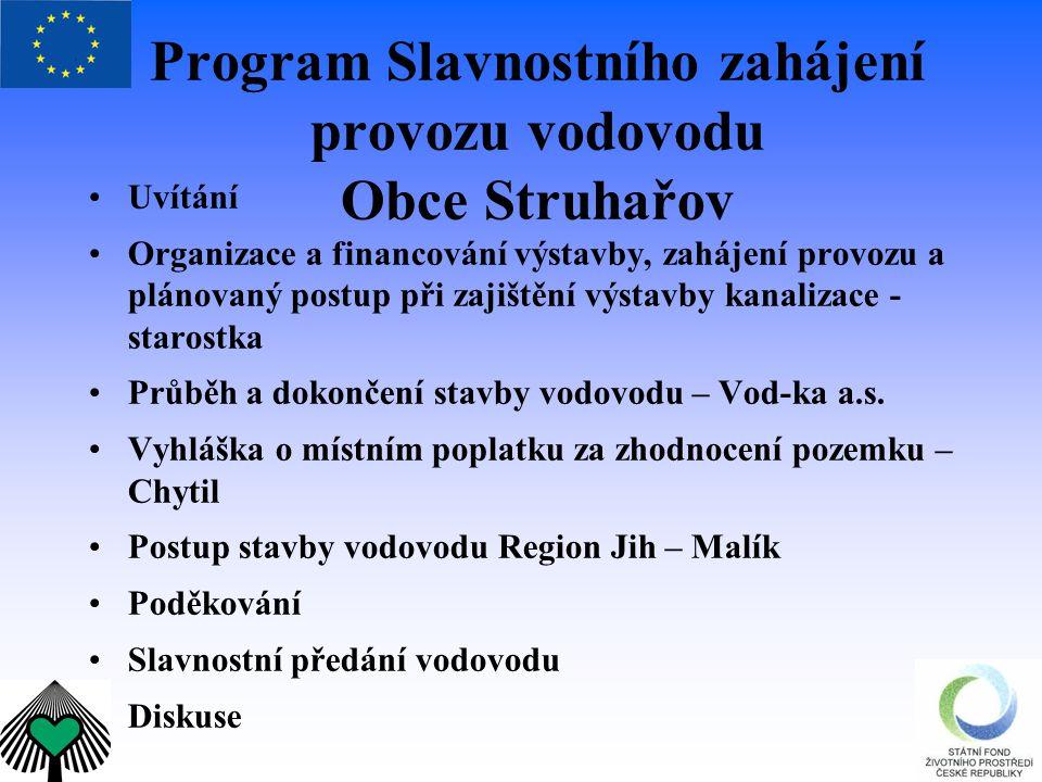 Program Slavnostního zahájení provozu vodovodu Obce Struhařov