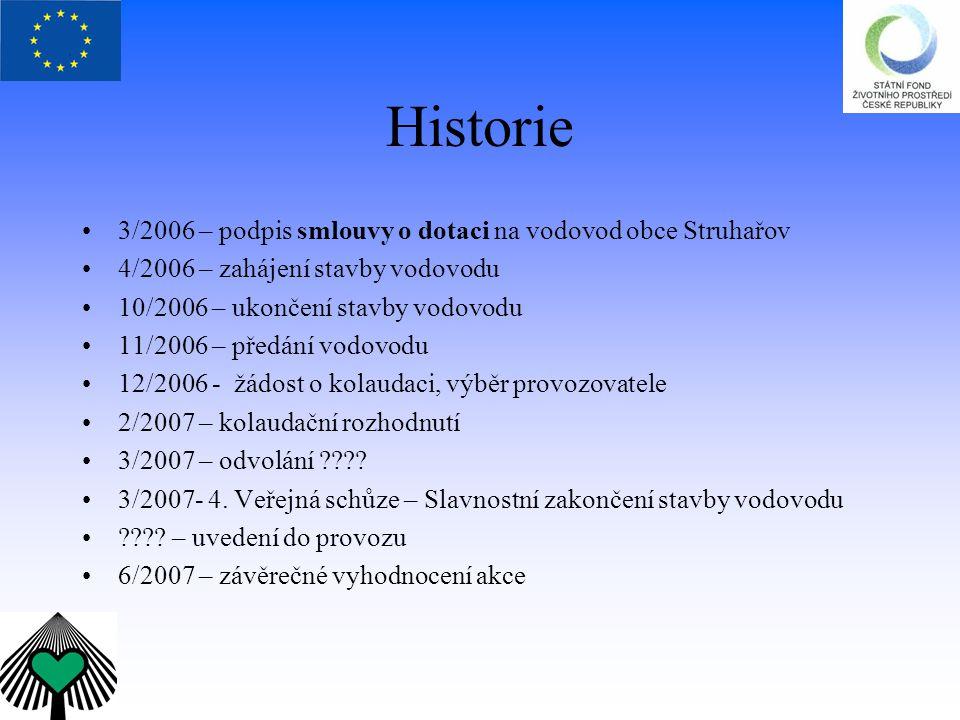 Historie 3/2006 – podpis smlouvy o dotaci na vodovod obce Struhařov