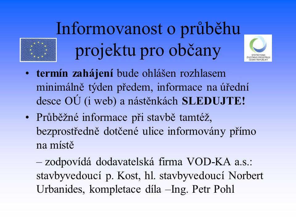 Informovanost o průběhu projektu pro občany
