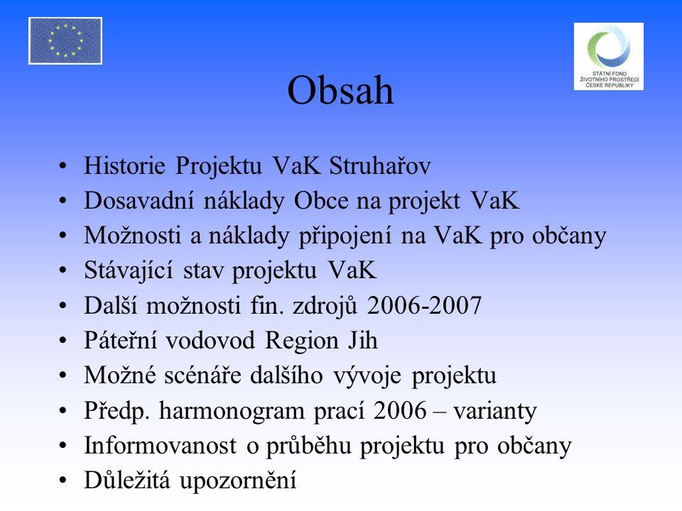 Obsah Historie Projektu VaK Struhařov