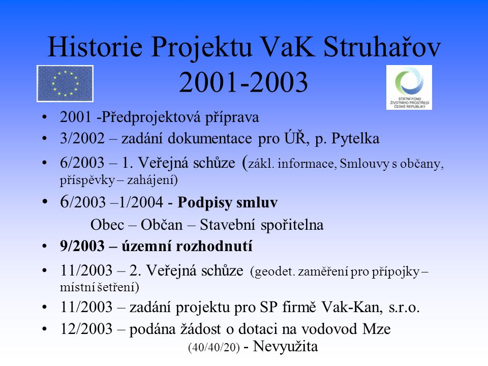 Historie Projektu VaK Struhařov 2001-2003