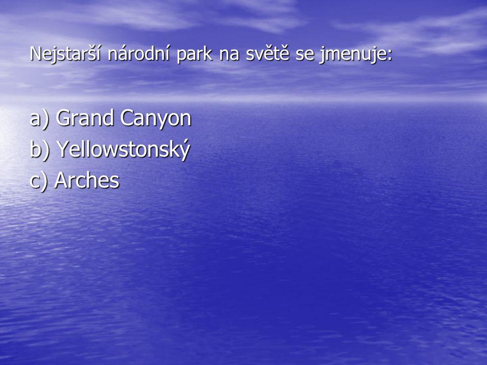 Nejstarší národní park na světě se jmenuje:
