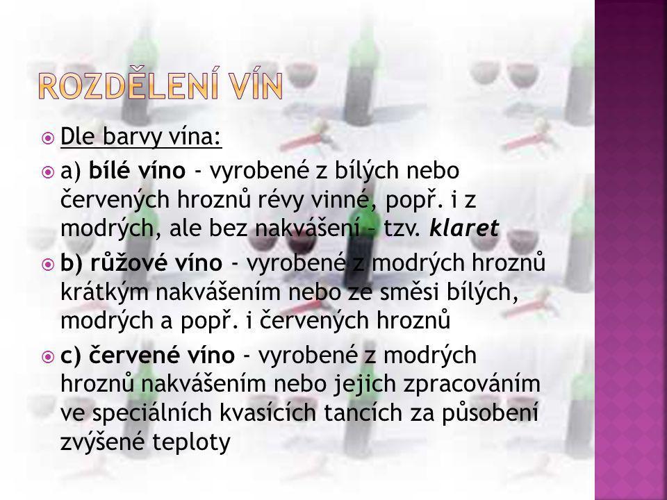 Rozdělení vín Dle barvy vína: