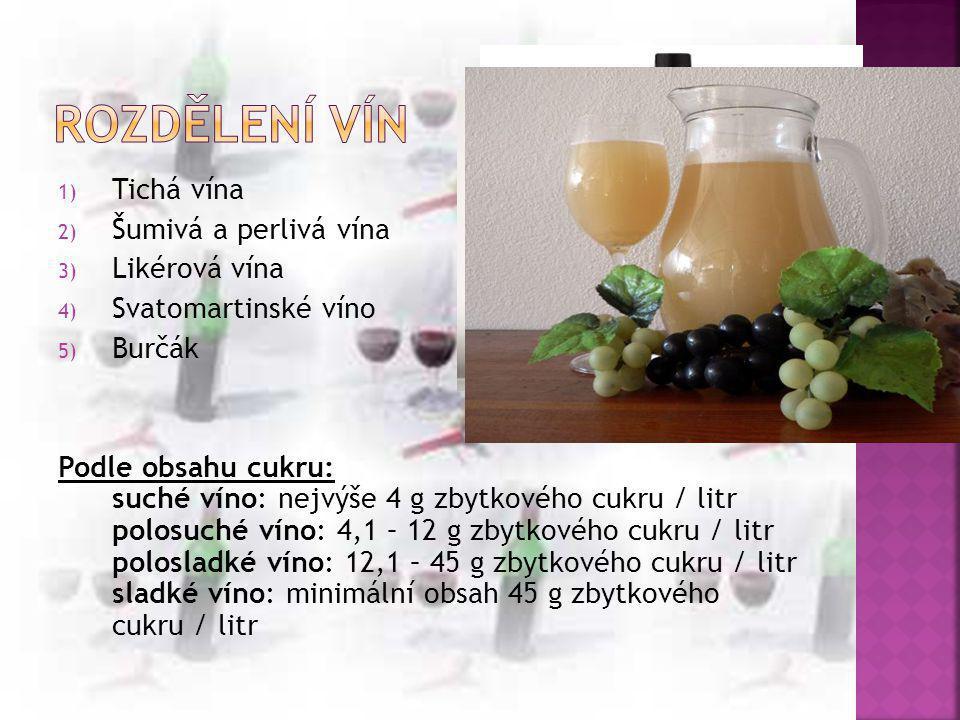 Rozdělení vín Tichá vína Šumivá a perlivá vína Likérová vína
