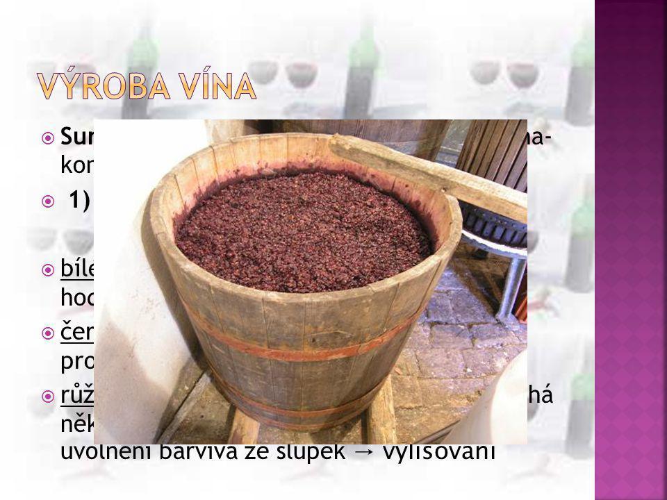 Výroba vína Surovina: čerstvé vinné hrozny (konec srpna- konec listopadu) 1) odzrnění- oddělení třapiny od dužiny.