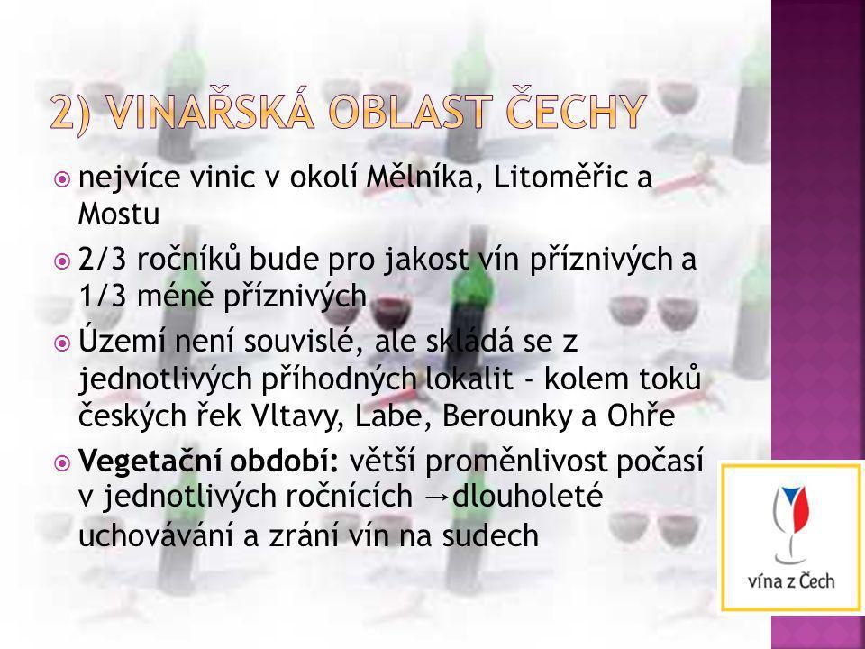 2) vinařská oblast Čechy
