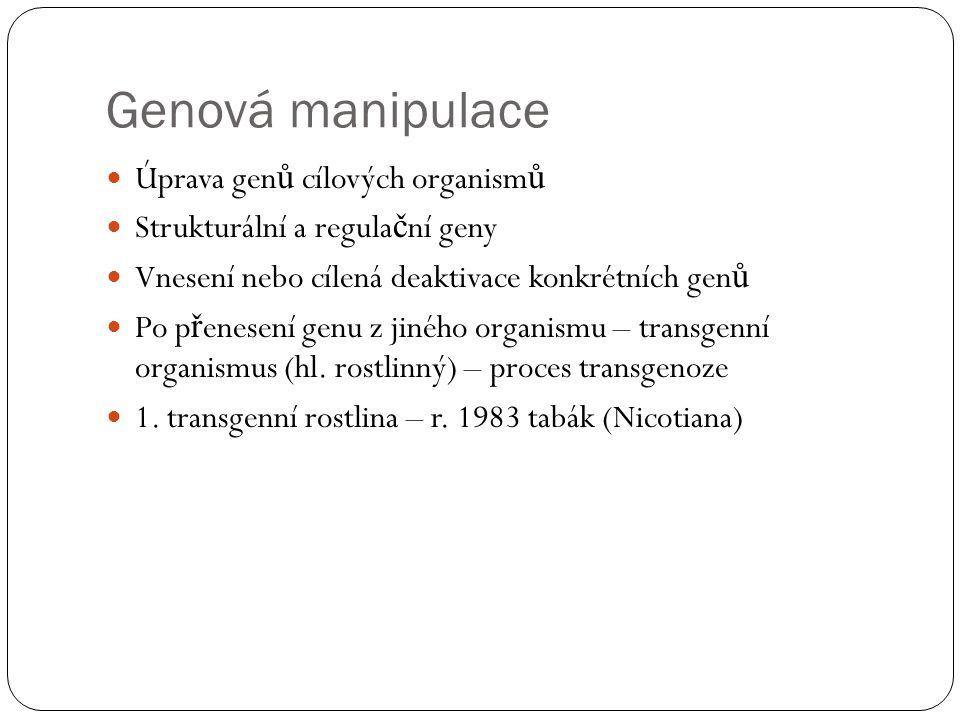 Genová manipulace Úprava genů cílových organismů