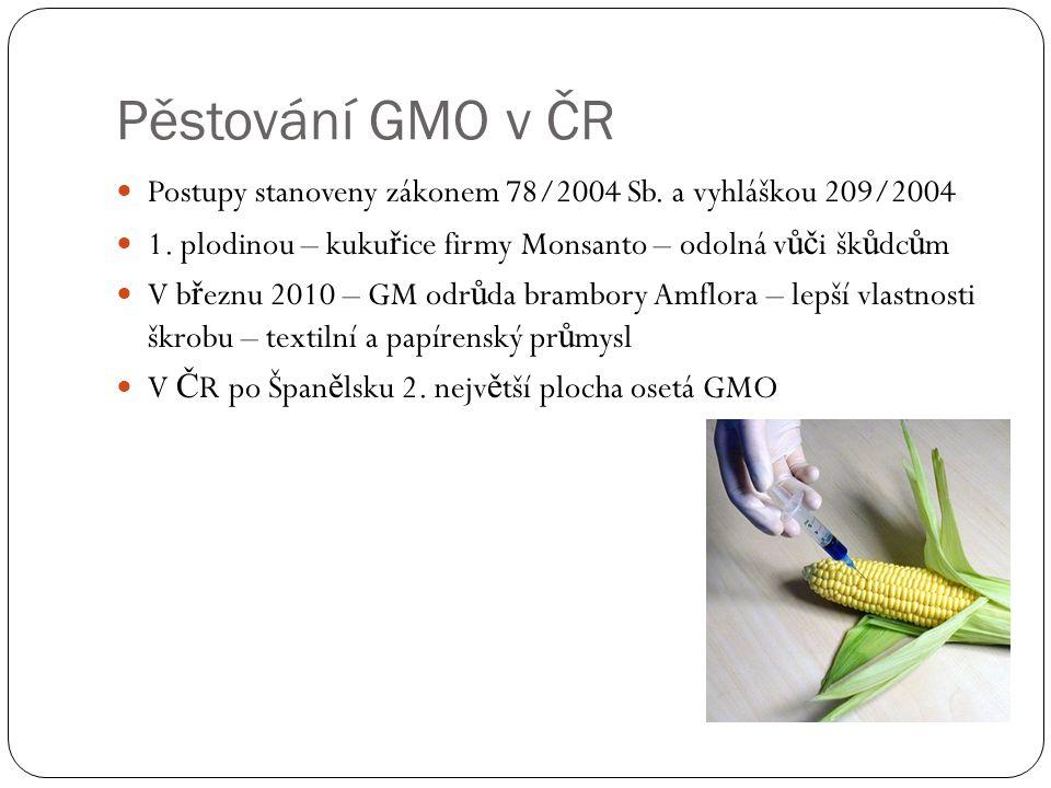 Pěstování GMO v ČR Postupy stanoveny zákonem 78/2004 Sb. a vyhláškou 209/2004. 1. plodinou – kukuřice firmy Monsanto – odolná vůči škůdcům.