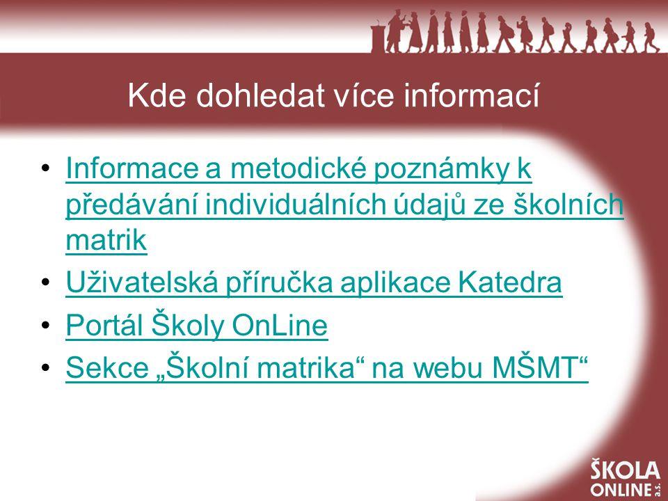 Kde dohledat více informací