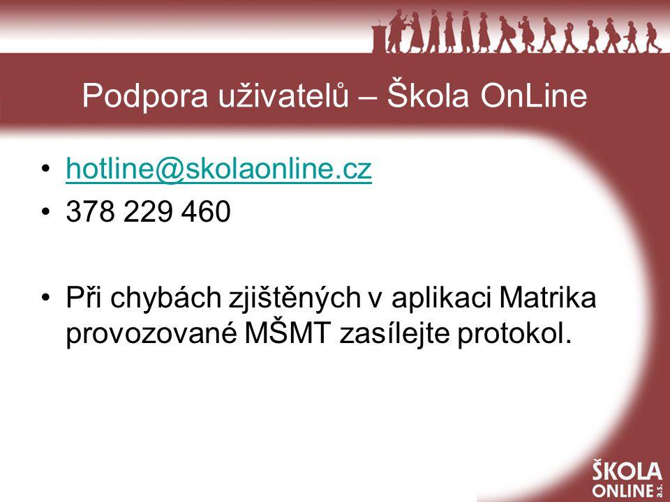 Podpora uživatelů – Škola OnLine