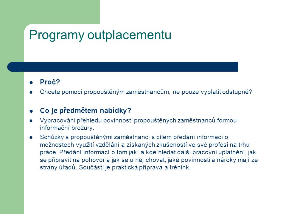 Programy outplacementu