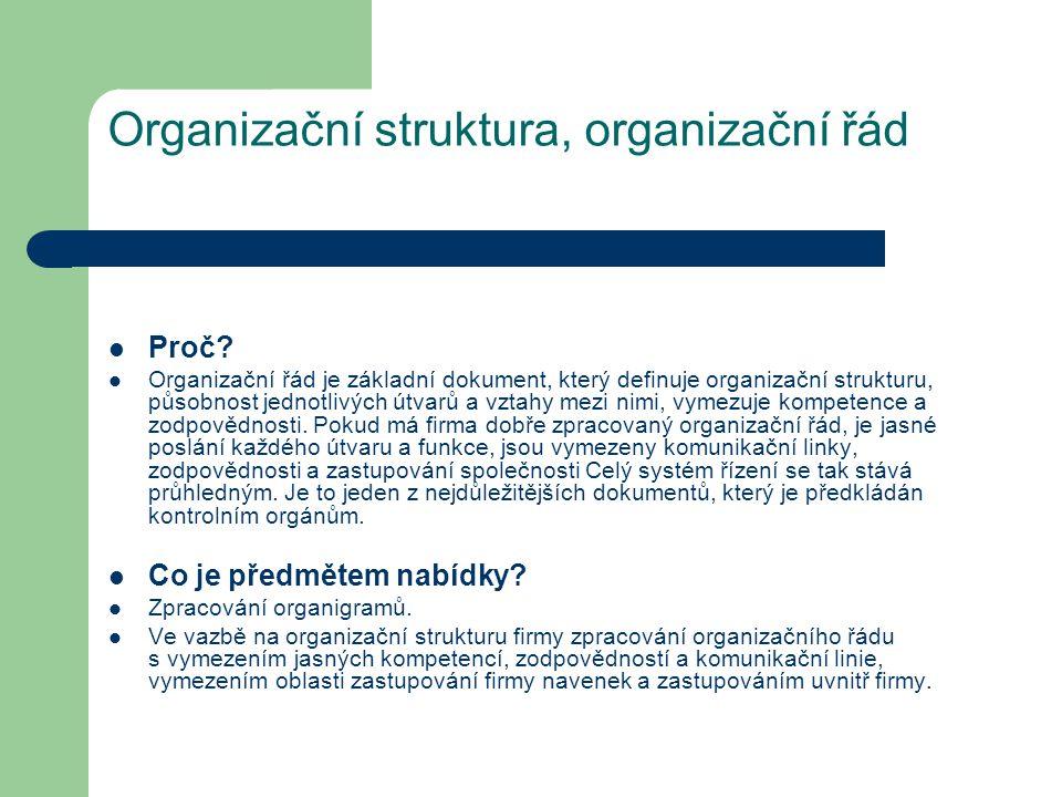 Organizační struktura, organizační řád