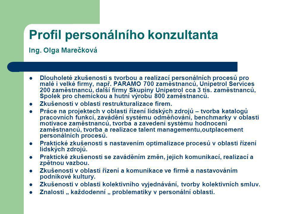 Profil personálního konzultanta Ing. Olga Marečková