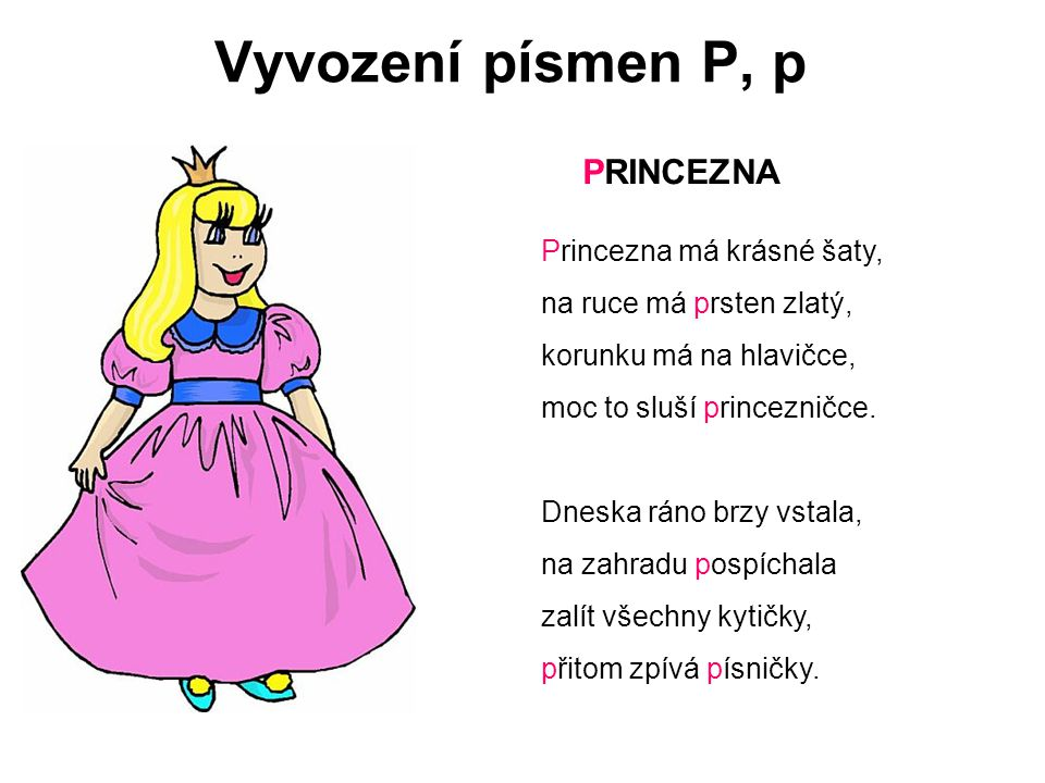 Vyvození písmen P, p PRINCEZNA Princezna má krásné šaty,