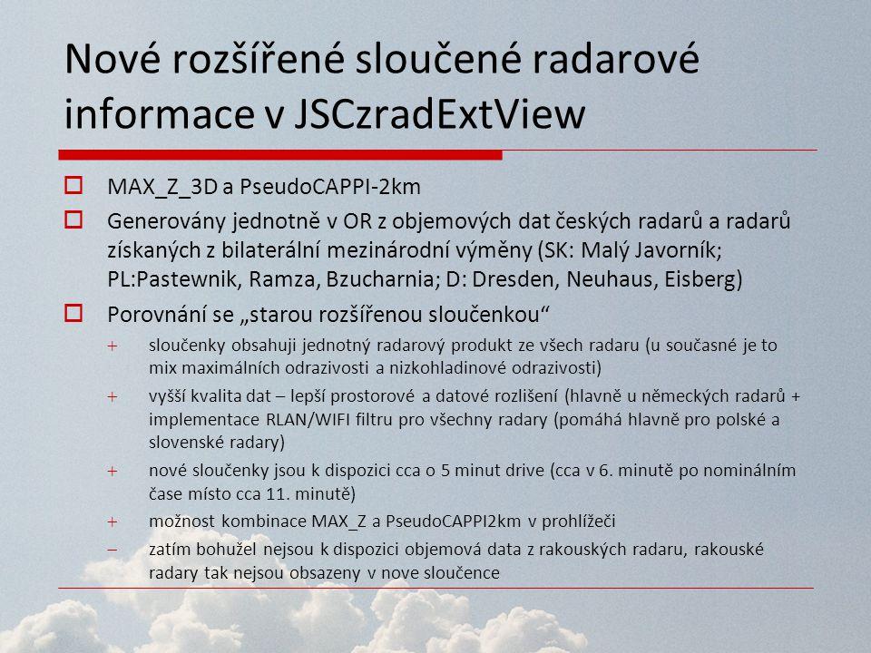 Nové rozšířené sloučené radarové informace v JSCzradExtView