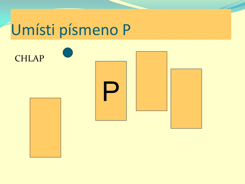 Umísti písmeno P CHLAP P