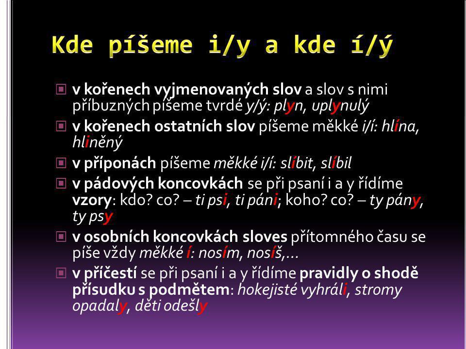 Kde píšeme i/y a kde í/ý v kořenech vyjmenovaných slov a slov s nimi příbuzných píšeme tvrdé y/ý: plyn, uplynulý.