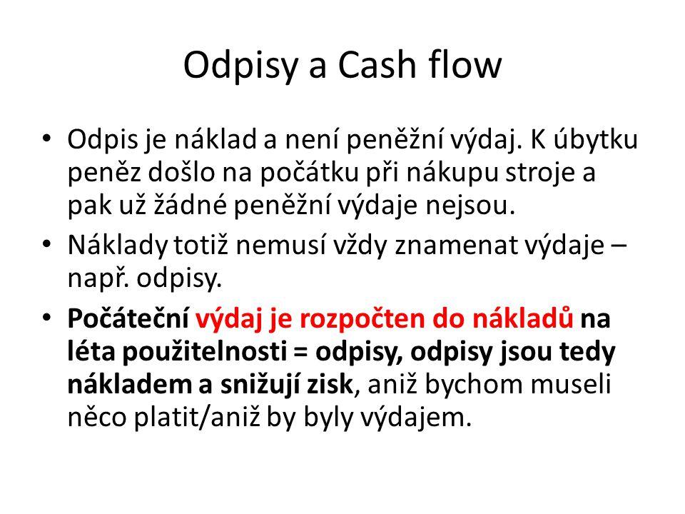 Odpisy a Cash flow Odpis je náklad a není peněžní výdaj. K úbytku peněz došlo na počátku při nákupu stroje a pak už žádné peněžní výdaje nejsou.