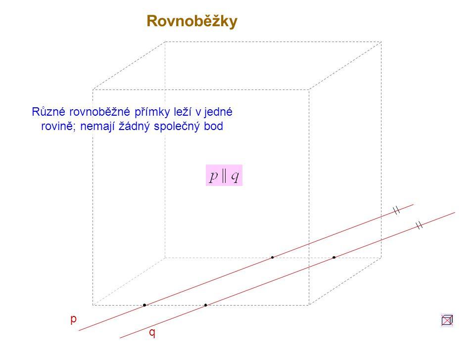 Různé rovnoběžné přímky leží v jedné rovině; nemají žádný společný bod