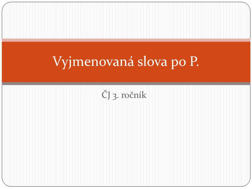 Vyjmenovaná slova po P. ČJ 3. ročník