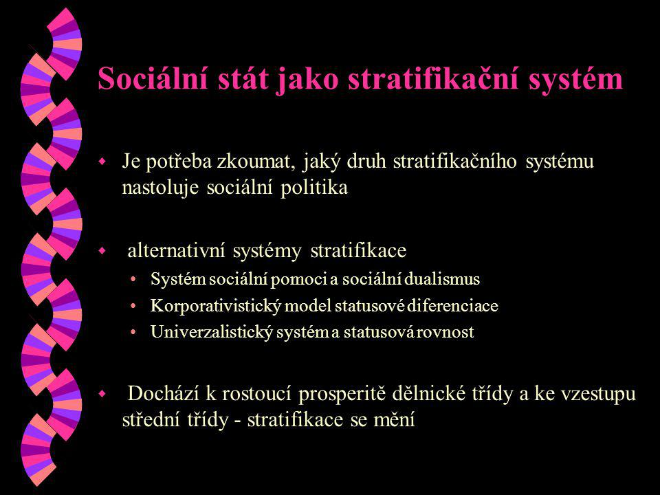 Sociální stát jako stratifikační systém