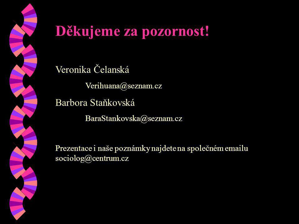 Děkujeme za pozornost! Veronika Čelanská Barbora Staňkovská