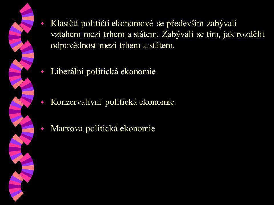 Klasičtí političtí ekonomové se především zabývali vztahem mezi trhem a státem. Zabývali se tím, jak rozdělit odpovědnost mezi trhem a státem.