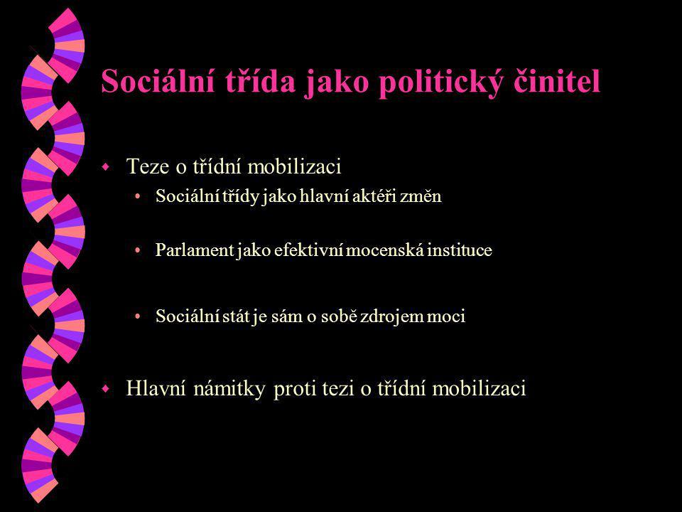 Sociální třída jako politický činitel